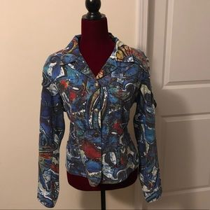 Chico's Colorful Jacket, Sz 2, buttons pockets EUC